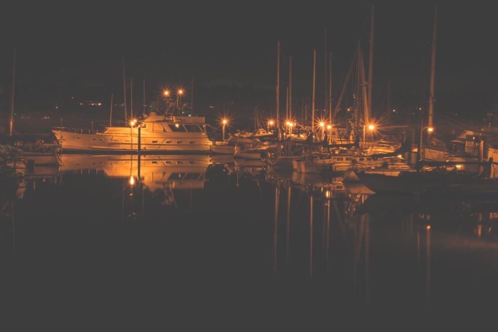 marina, city, water, night, harbor, boat, waterfront, bay