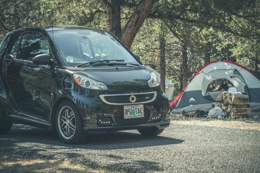 camp, car, forest, road, asphalt, tourism, vehicle, automobile