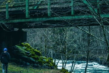 under bridge, structure, person, forest, river
