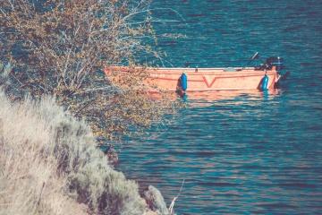člun, voda, pobřeží, jezera, léto