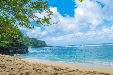 Arena, isla, playa, verano, océano, cielo, mar, costa, paisaje