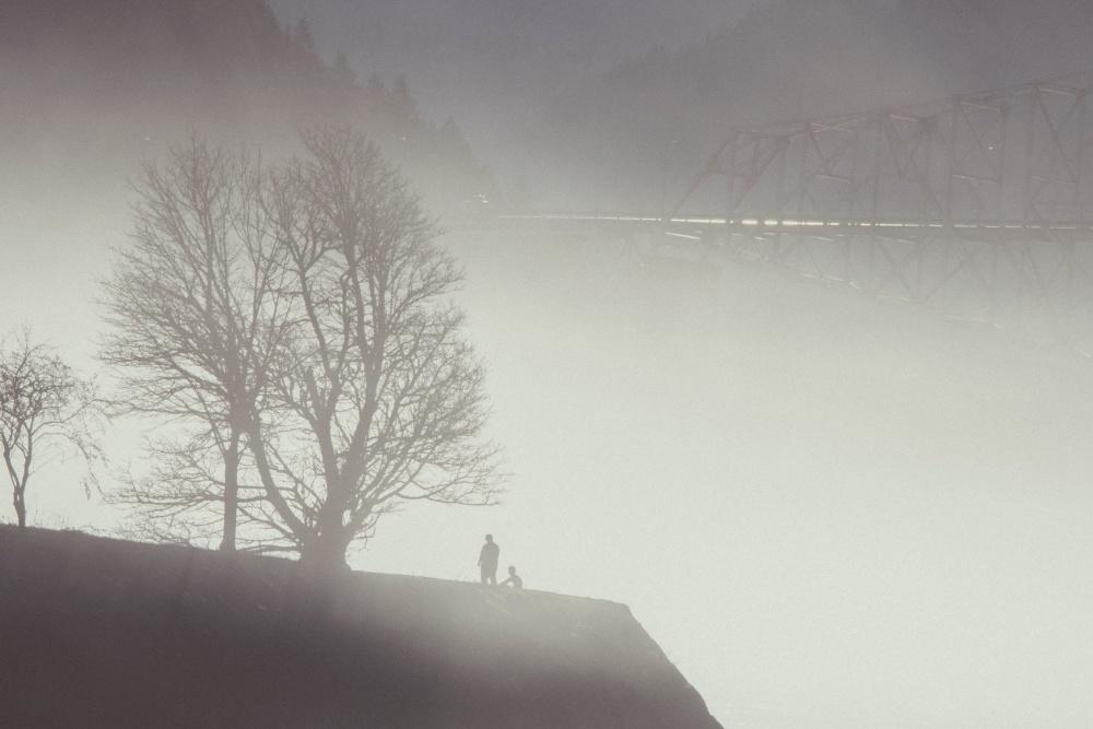 silhouette, men, fog, sky, landscape