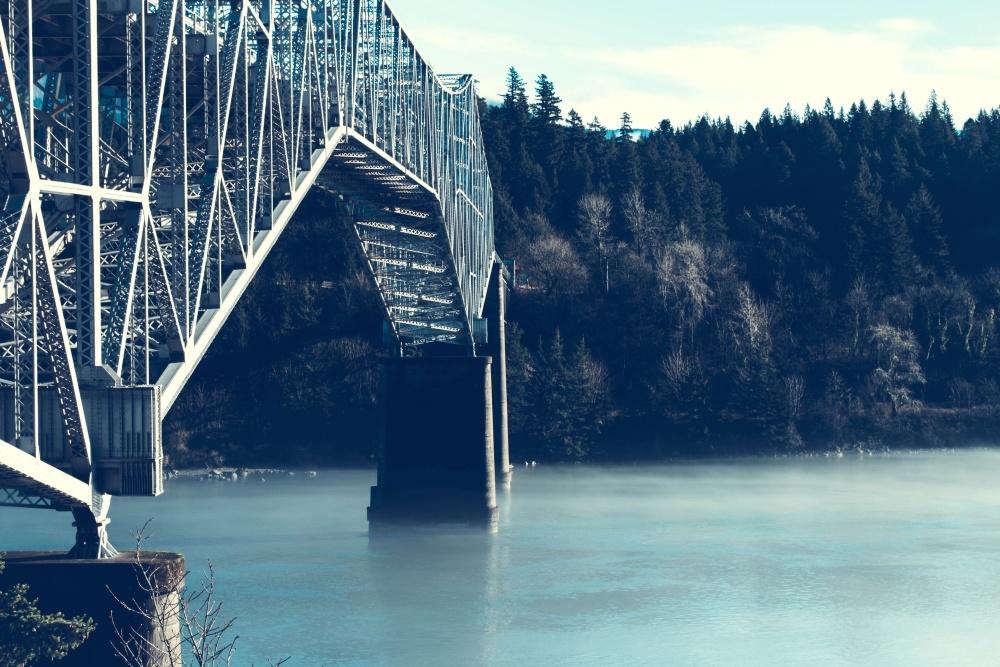 bridge, river, mist, landscape