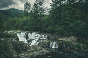 water, river, landscape, nature, waterfall, mountain, stream, tree, summer