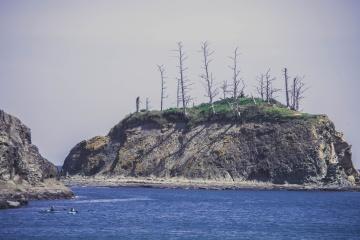 seashore, landscape, water, sea, ocean, beach, sky, island, coast, cliff