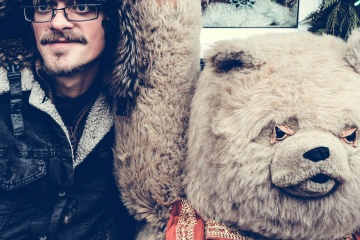 tedy bear, friend, portrait, winter, people, coat, man