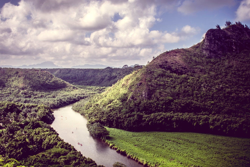 river, landscape, mountain, water, valley, mountain, highland
