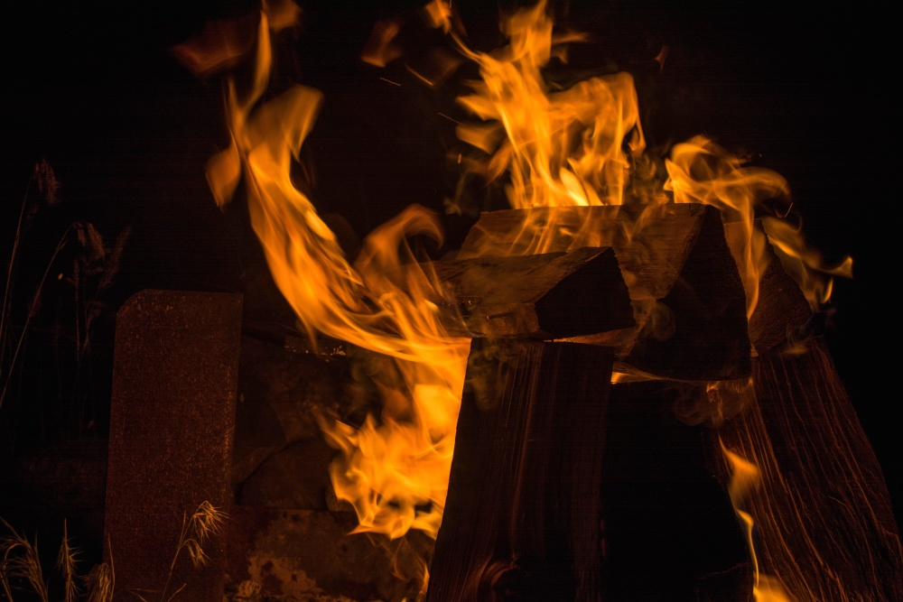 fire, flame, dark, fireplace, heat, firewood
