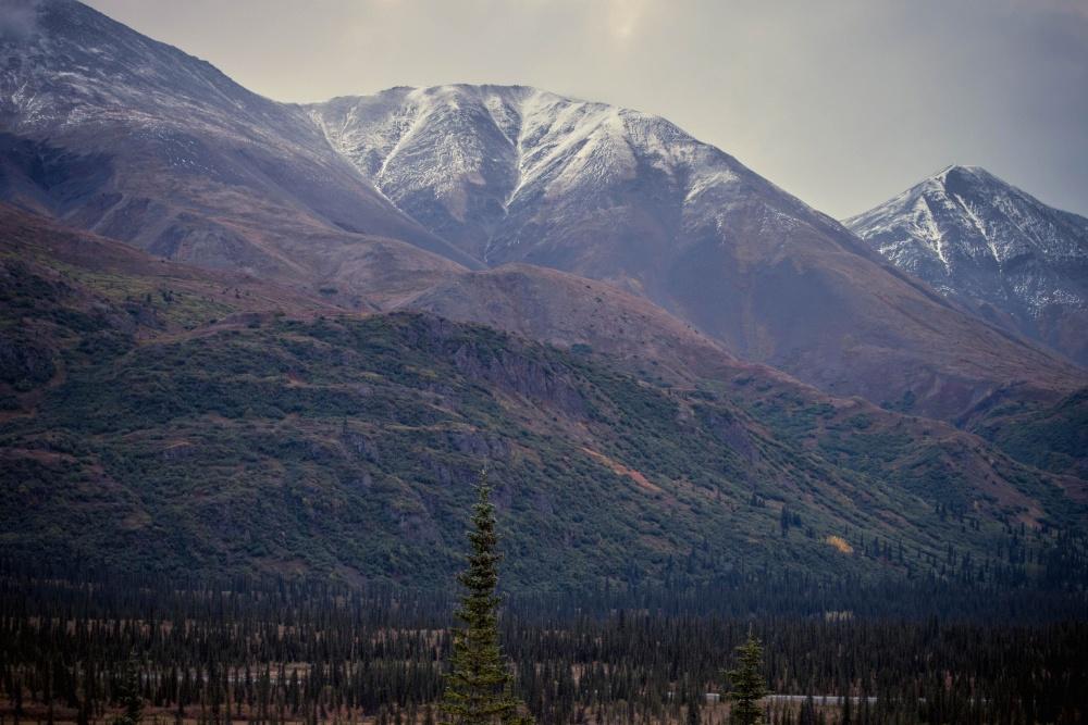 mountain peak, snow, landscape, valley, sky