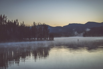 fog, lake, water, dawn, landscape, snow, reflection, mist, shore, lakeside