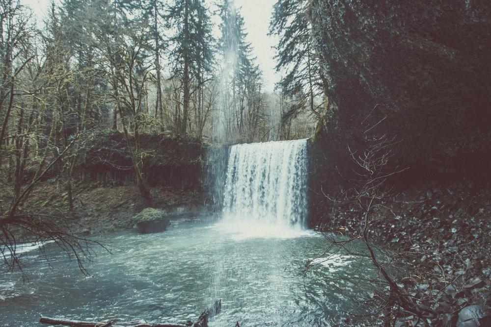 waterfall, lake, water, landscape, tree, nature, river