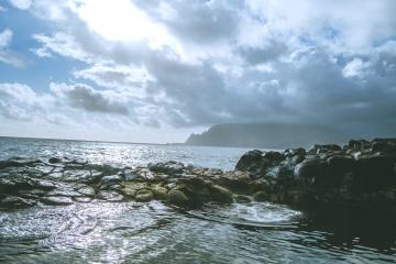 σύννεφο, ωκεανός, νερό, θάλασσα, παραλία, τοπίο, ουρανός, ακτή, ακτή