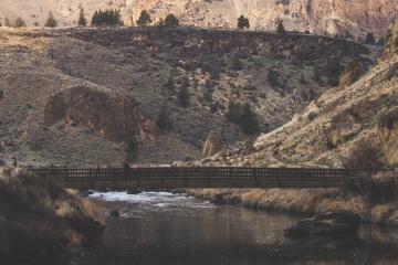 river, bridge, water, landscape, desert