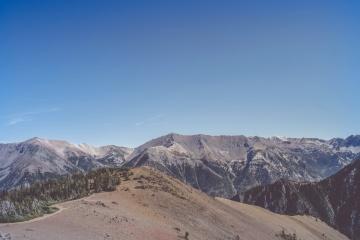 mountain, snow, sky, landscape, highland, valley, blue sky