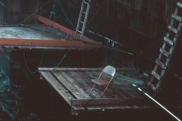 ladders, fishing dock, chair, wood