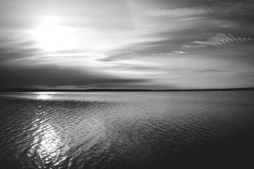 Himmel, ozean, horizont, sonnenuntergang, wasser, dämmerung, meer, strand, landschaft