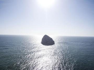 Isla, mar, agua, océano, cielo azul, paisaje, cielo
