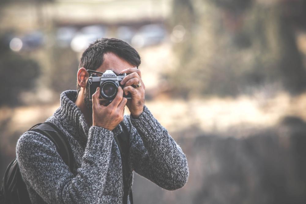 man, photographer, portrait, photo camera