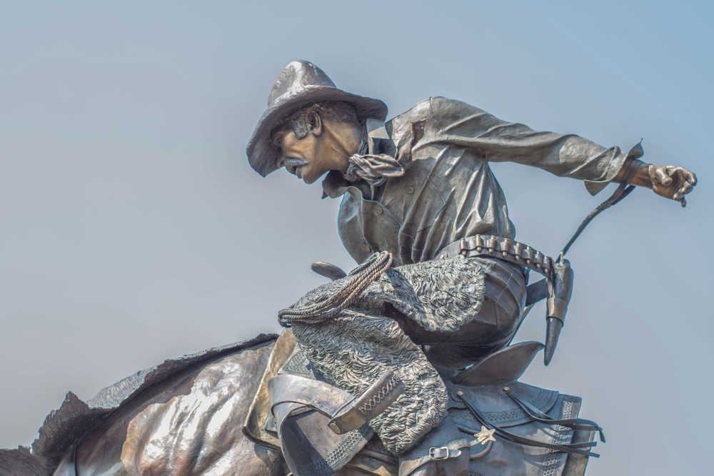 cowboy, sculpture, statue, sky, art