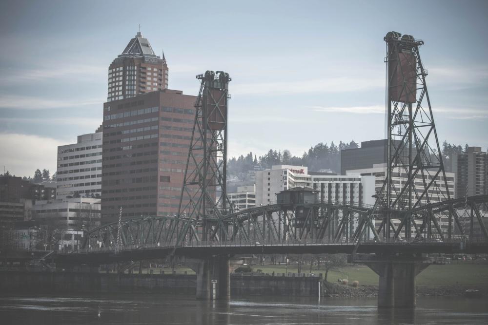 downtown, water, architecture, bridge, river, sky, city, urban, cityscape