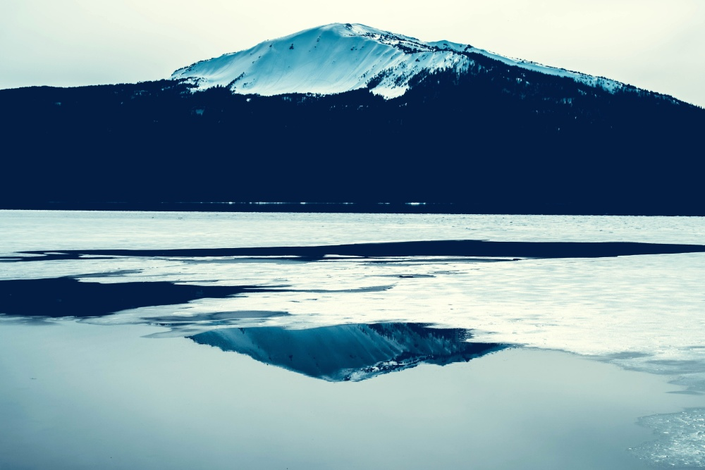 lake, mountain, snow, ice, winter, water, landscape, cold, sky