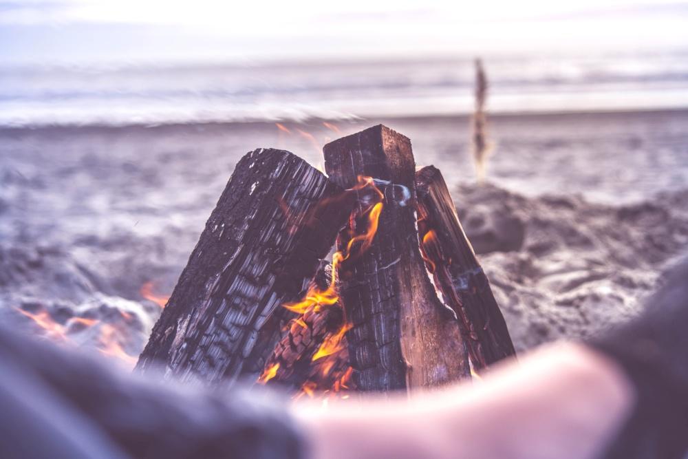 firewood, campfire, heat, water, sea, ocean, flame