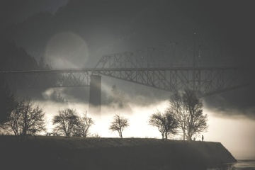 night, fog, landscape, bridge, silhouette, dawn, sky