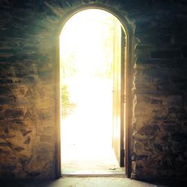 Luz, entrada, oscuro, puerta, arco, arquitecture