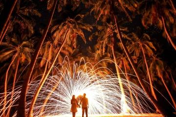 Silhouette, flamme, feux d'artifice, lumière, explosion,