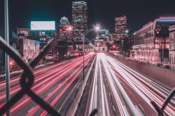 city, road, street, traffic, dusk, light, downtown
