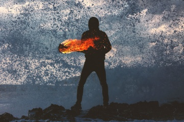 man, action, silhouette, , fire
