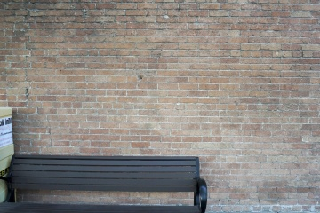 Pared, viejo, ladrillo, vacío, banco, asiento