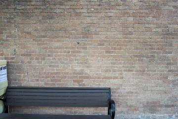 parede, velho, tijolo, vazio, no banco, assento