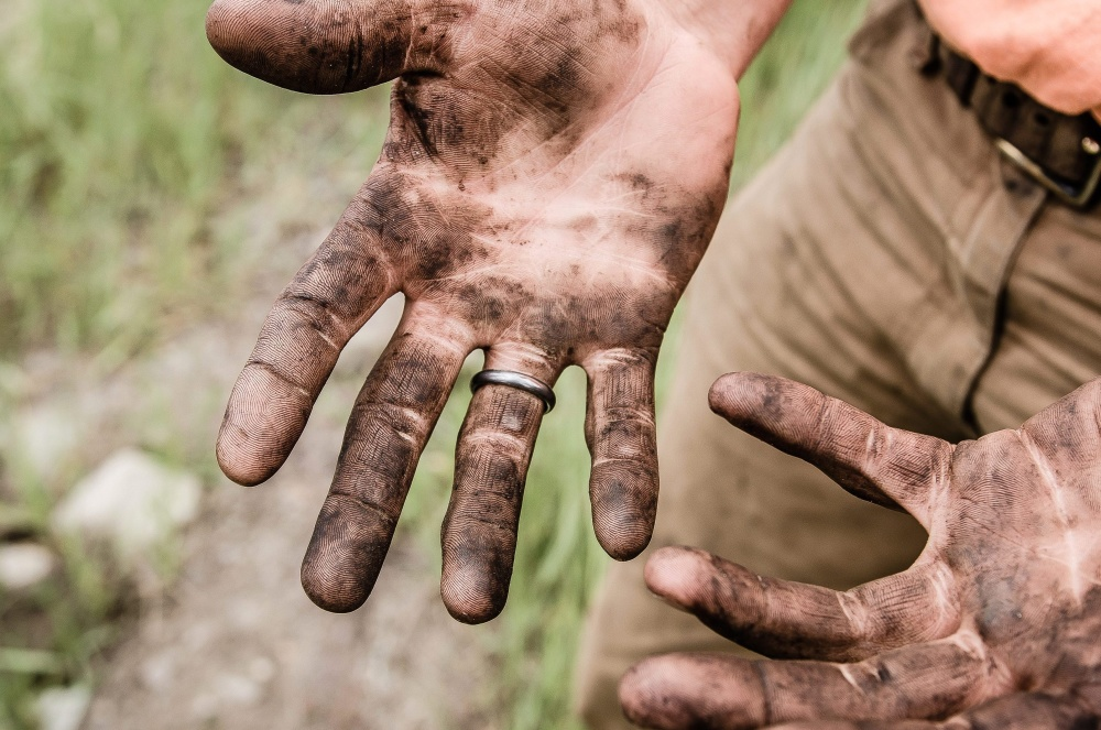 man, hand, dirt, ring