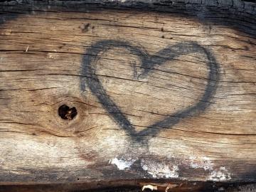 Cuore, arte, marrone, decorazione, legno duro
