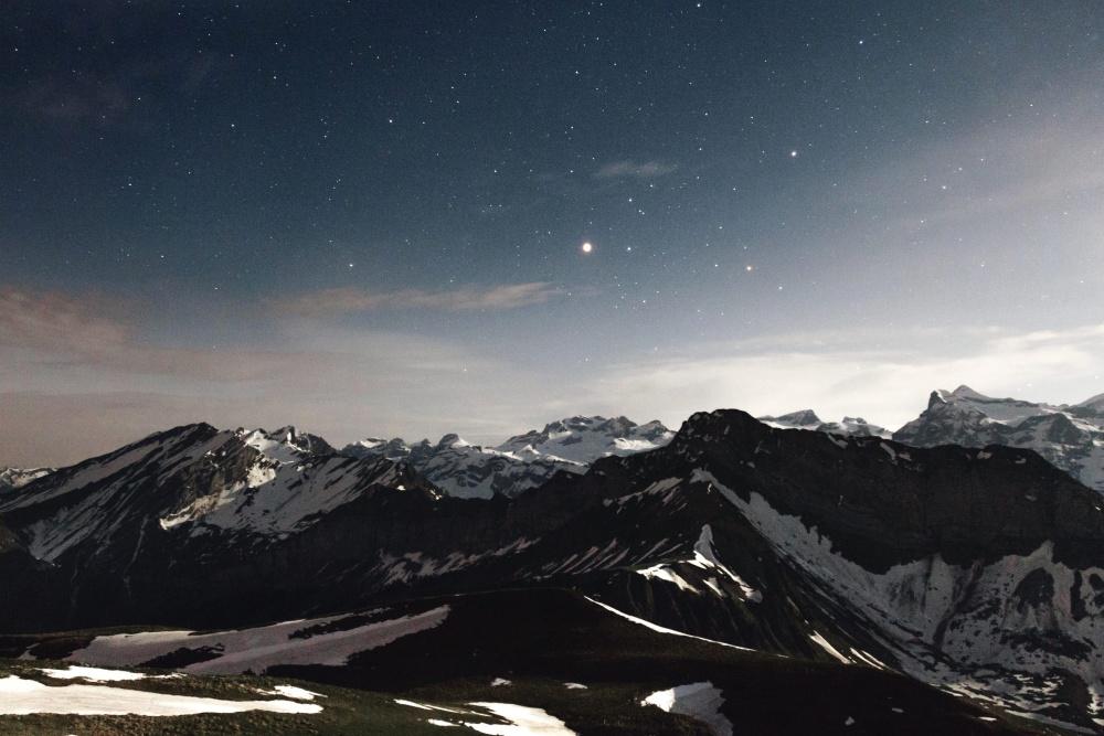 sneh, vrch, zima, ľad, neba, krajina, hory, súmraku