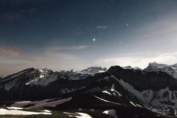 Nieve, pico de montaña, invierno, hielo, cielo, paisaje, montaña, atardecer