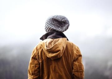 man, människor, vintern, kall, porträtt, hatt, landskap