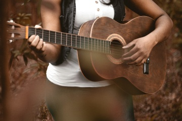 acoustic guitar, music, musician, instrument, people, woman, wood