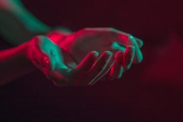 손, 몸, 다채로운, 어두운 그림자