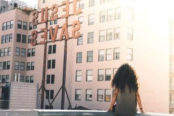 Ciudad, arquitectura, mujer, céntrico, edificio
