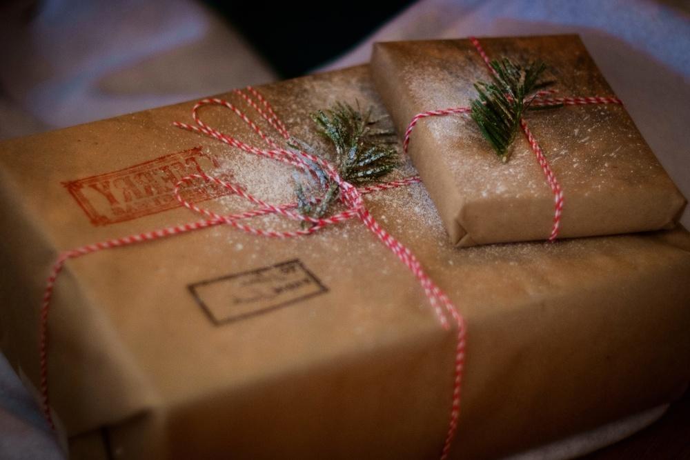 Noël, boîte, cadeau, marron, décoration, colis