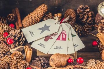 Natale, inverno, decorazione, carta, regalo