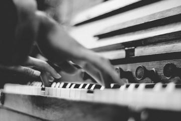 Pianoforte, strumento, monocromatico, musica, musicista