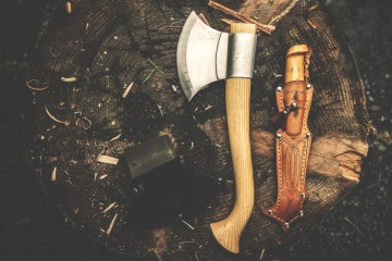 axe, hand tool, wood, knife