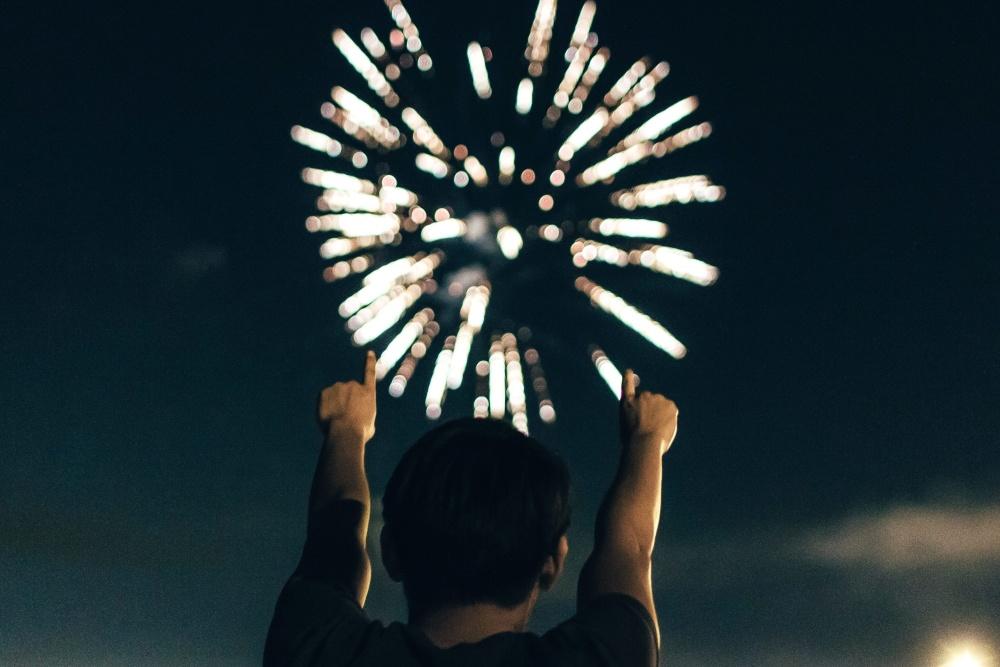 Festival, människor, fyrverkerier, person, människa, människor, siluett, mörk, natt