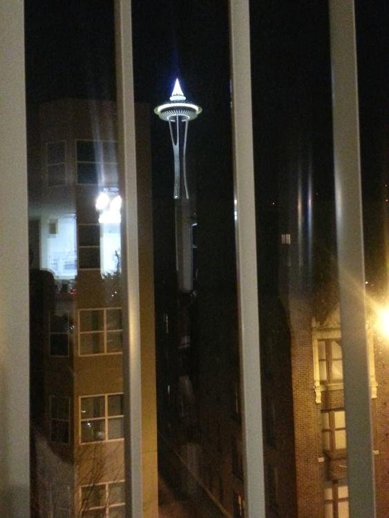 Ventana, noche, luz, arquitectura