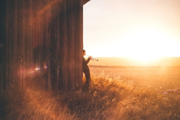 man, musician, sunset, landscape, dawn, people