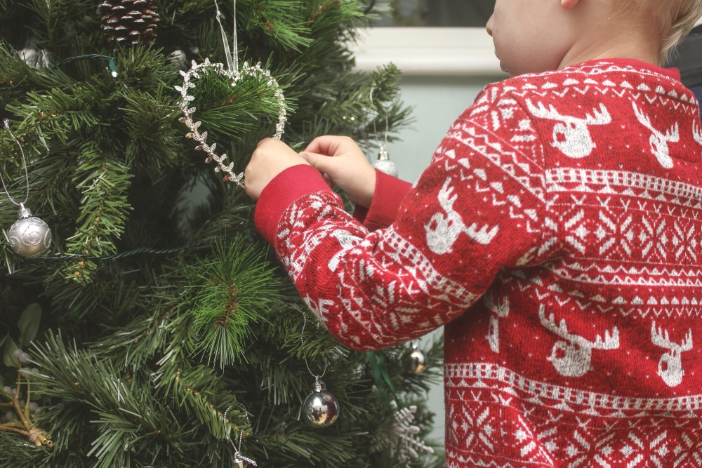 Christmas, child, celebration, decoration, tree