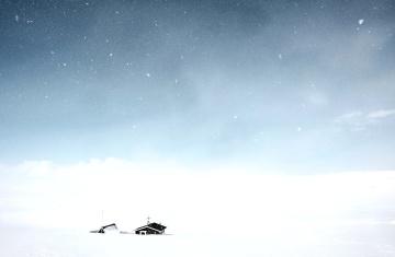 Inverno, céu, neve, paisagem, casa